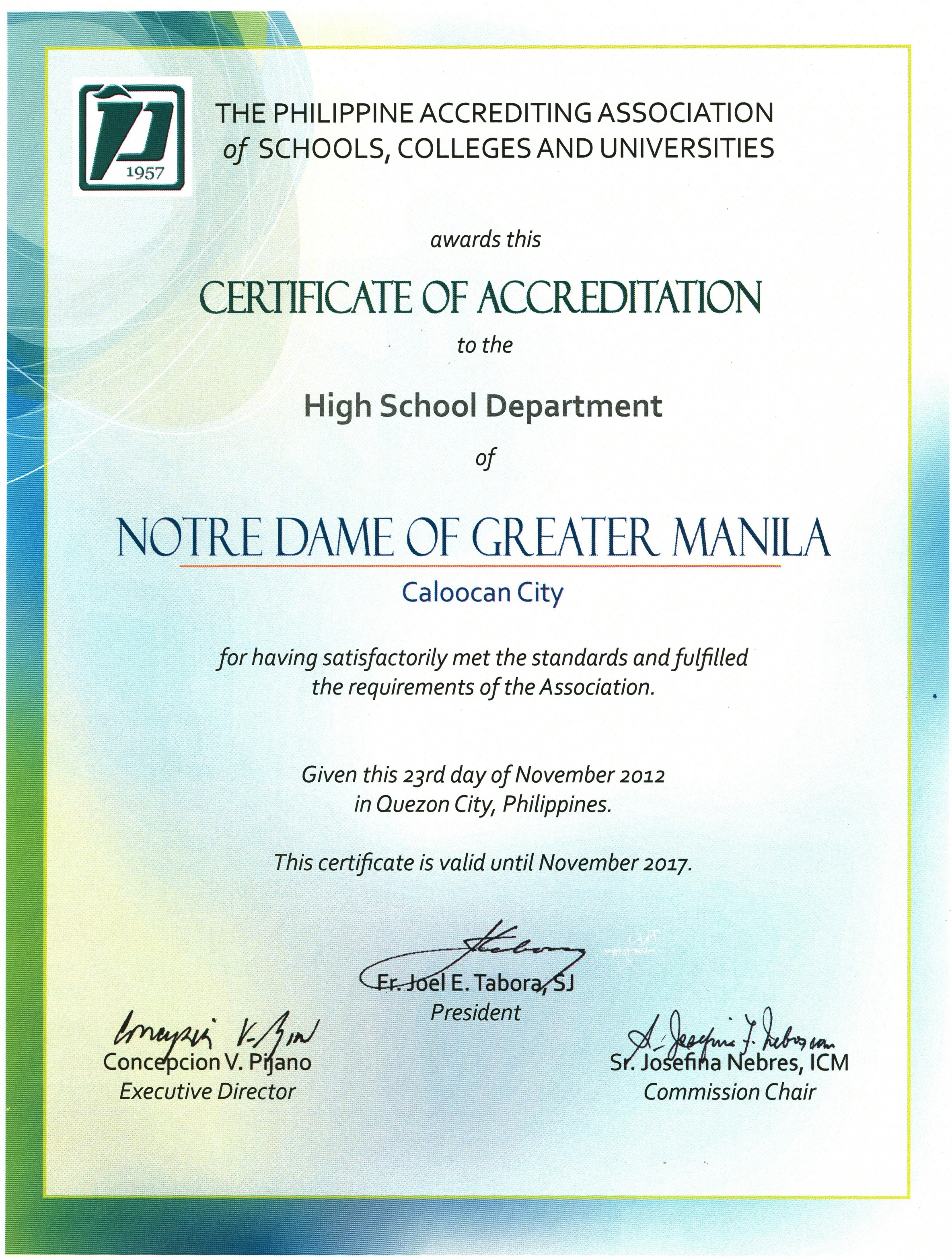 PAASCU HS Accreditation